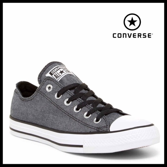 1ddd3165ad56 CONVERSE BLACK CHAMBRAY LO OX LOW TOPS SNEAKERS